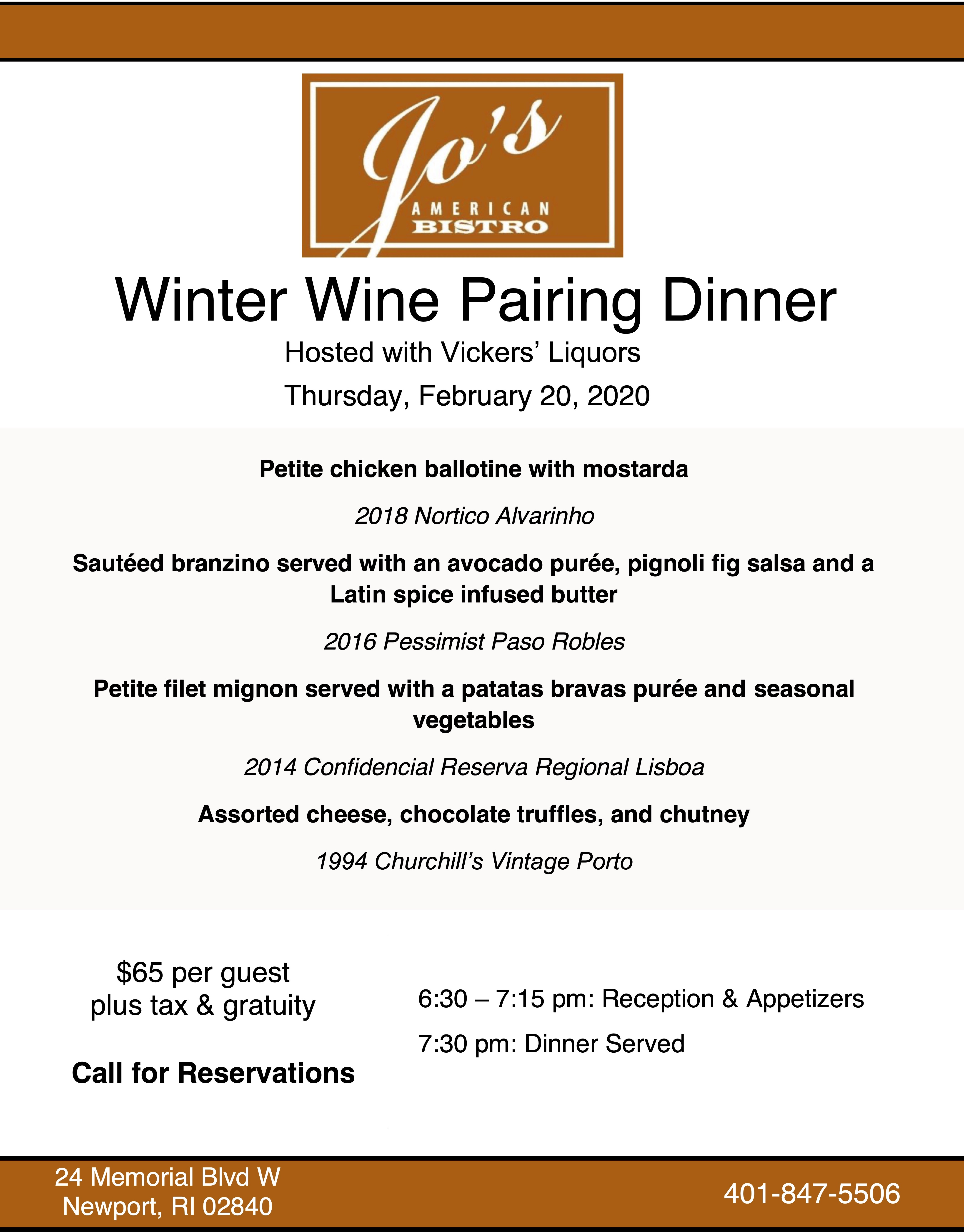 Jo's American Bistro's February 20, 2020 Wine Dinner Menu